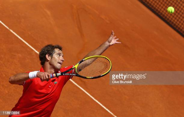 Richard Gasquet of France serves during his second round match against Igor Andreev of Russia during day three of the Internazoinali BNL D'Italia at...