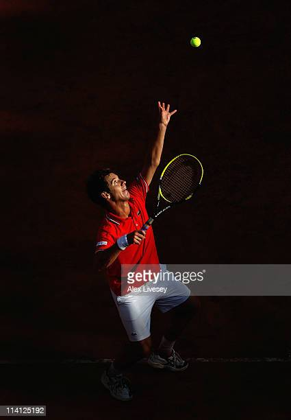 Richard Gasquet of France serves during his third round match against Roger Federer of Switzerland during day five of the Internazionali BNL d'Italia...