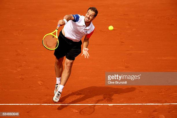 Richard Gasquet of France serves during the Men's Singles third round match against Nick Kyrgios of Australia on day six of the 2016 French Open at...