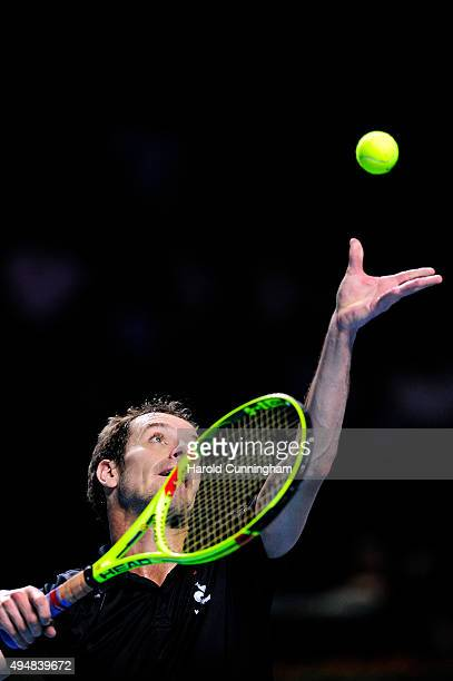 Richard Gasquet of France serves during the second day of the Swiss Indoors ATP 500 tennis tournament against Dominic Thiem of Austria at St...