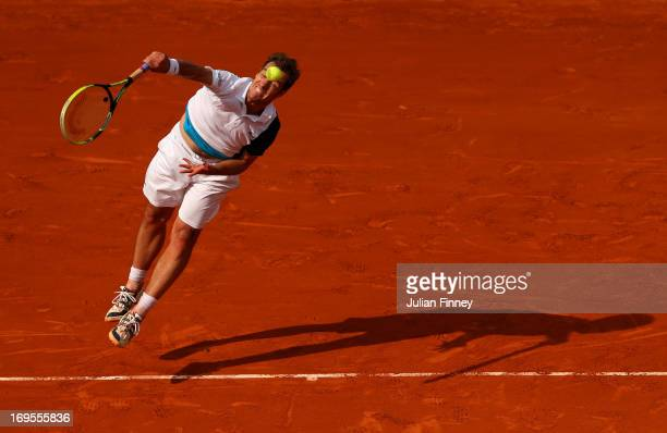 Richard Gasquet of France serves in his Men's Singles match against Sergiy Stakhovsky of Ukraine during day two of the French Open at Roland Garros...