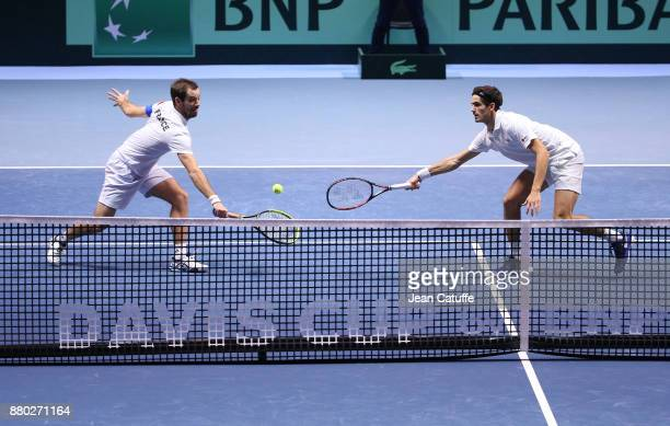 Richard Gasquet PierreHughes Herbert of France during the doubles match on day 2 of the Davis Cup World Group final between France and Belgium at...