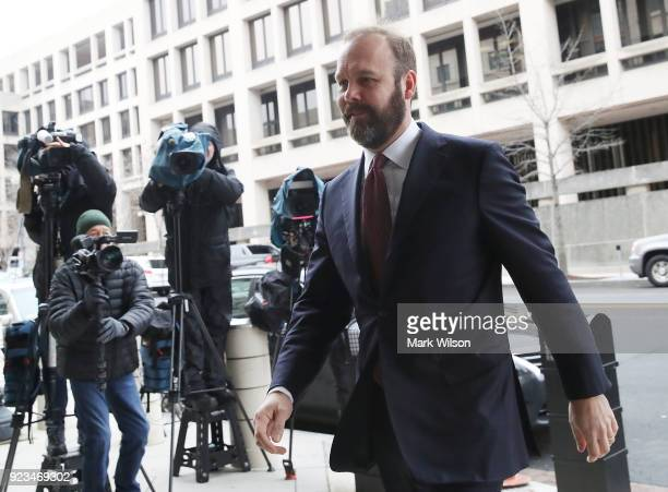Richard Gates arrives at the Prettyman Federal Courthouse for a hearing February 23 2018 in Washington DC Gates is expected to plead guilty to a...