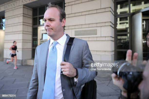 Richard Gates leaves the Prettyman Federal Courthouse following a hearing November 2 2017 in Washington DC Gates and his former business partner and...
