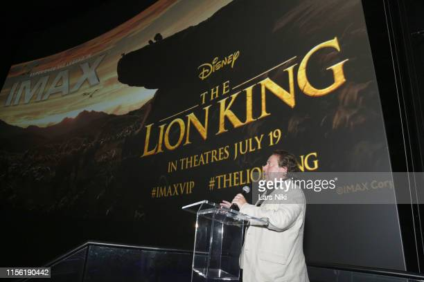 Richard Gelfond on stage addressing the audience during the IMAX private screening for the movie The Lion King at AMC Loews Lincoln Square theatre on...