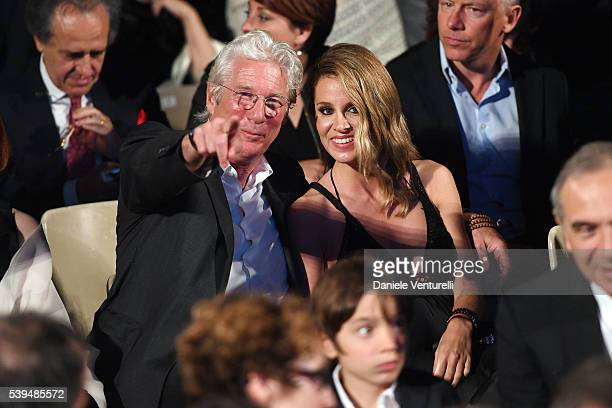 Richard Gere and Alejandra Silva attend 62 Taormina Film Fest Opening on June 10 2016 in Taormina Italy