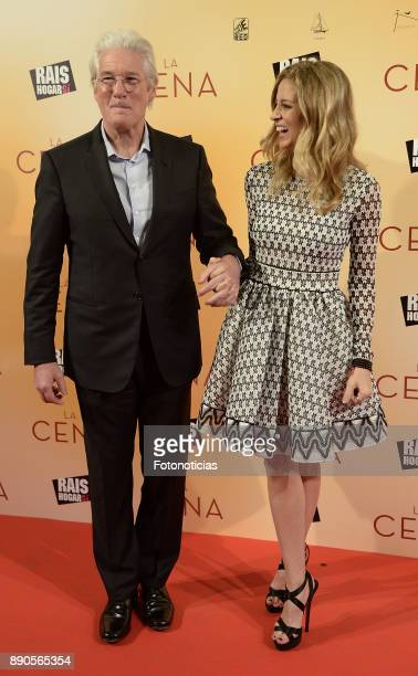 Richard Gere and Alejandra Silva attend the 'La Cena' premiere at the Capitol cinema on December 11 2017 in Madrid Spain