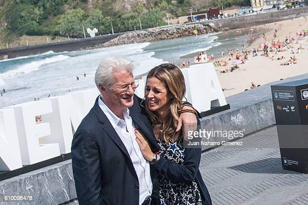 Richard Gere and Alejandra Silva attend 'Time Out Of Mind' photocall during 64th San sebastian Film Festival on September 24, 2016 in San Sebastian,...