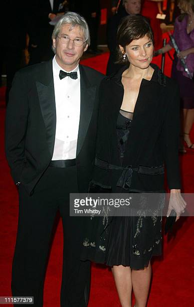 Richard Gere and Carey Lowell during BAFTA Film Awards 2005 Outside Arrivals at Leicester Square in London Great Britain