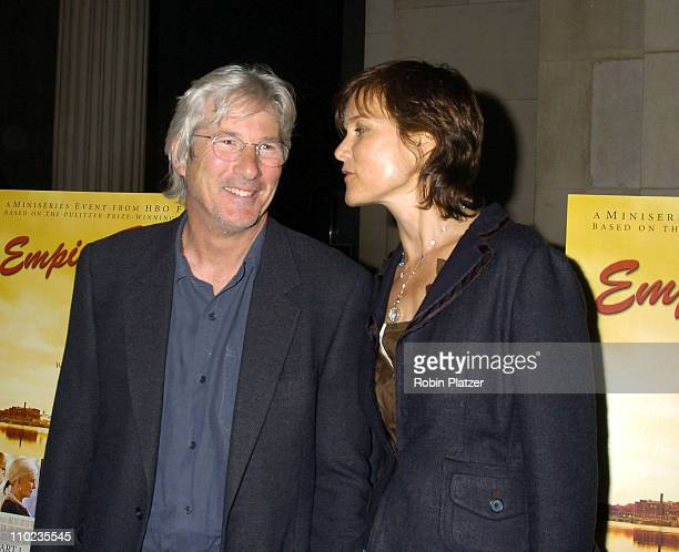 Richard Gere and Carey Lowell during HBO Films Empire Falls New York City Premiere at Metropolitan Museum of Art in New York City New York United...