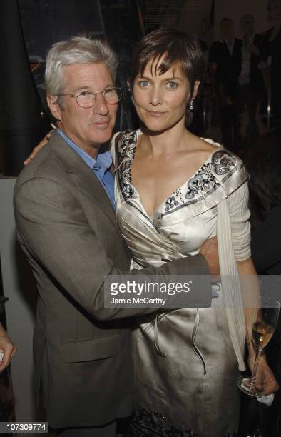 Richard Gere and Carey Lowell during Prada Celebrates The Opening of The Waist Down Skirts by Miuccia Prada Exhibition Arrivals at Prada Soho...