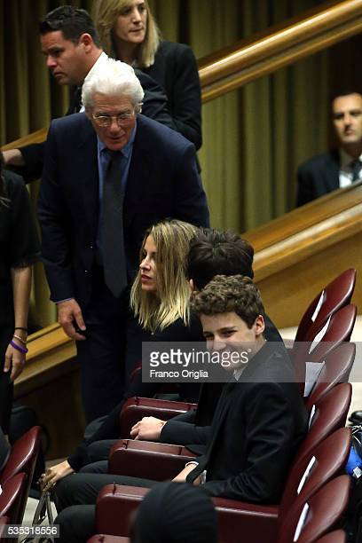 Richard Gere and his son Homer James Jigme Gere and girlfriend Alejandra Silva attends 'Un Muro o Un Ponte' Seminary held by Pope Francis at the Paul...
