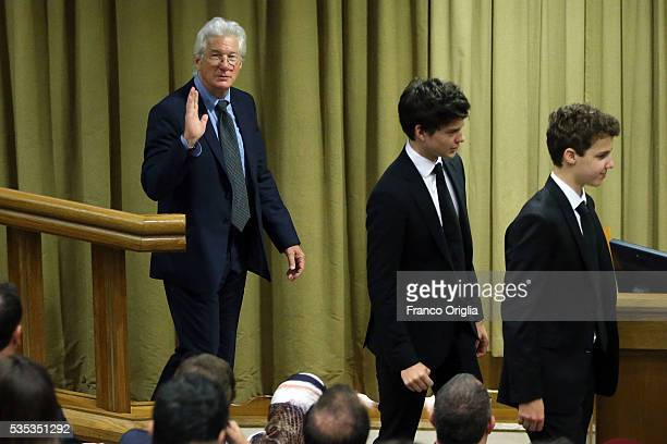 Richard Gere and his son Homer James Jigme Gere attend 'Un Muro o Un Ponte' Seminary held by Pope Francis at the Paul VI Hall on May 29 2016 in...