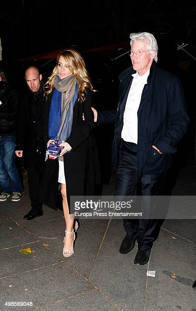 Richard Gere and his Spanish girlfriend Alejandra Silva are seen leaving 'Goizeko' restaurant on November 23 2015 in Madrid Spain
