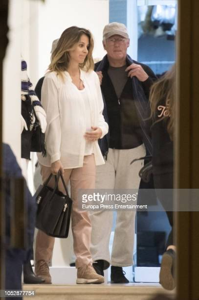 Richard Gere and his wife Alejandra Silva who is pregnant are seen shopping on October 23 2018 in Madrid Spain