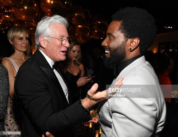 Richard Gere and John David Washington attend the 2019 InStyle and Warner Bros 76th Annual Golden Globe Awards PostParty at The Beverly Hilton Hotel...
