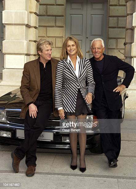 Richard Gere And Lauren Hutton With Giorgio Armani Armani At The Royal Academy A Retrospective Exhibition Was Launched With A Photocall Which...