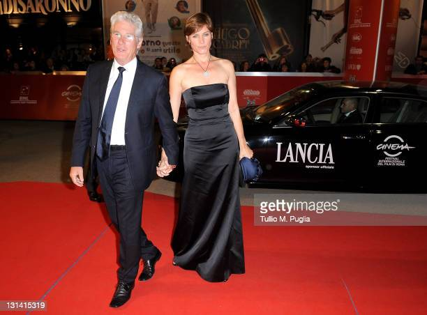 Richard Gere and wife Carey Lowell attends the red carpet during the 6th Rome Film Festival at Auditorium Parco Della Musica at Auditorium Parco...