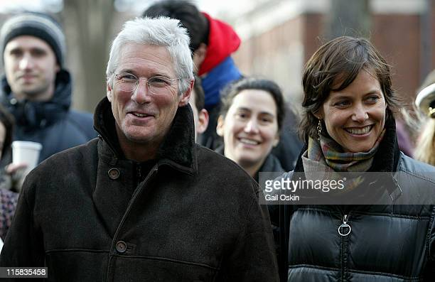 Richard Gere and wife Carey Lowell during Richard Gere is Named Hasty Pudding Theatricals' 2006 Man of the Year at Harvard University in Cambridge...