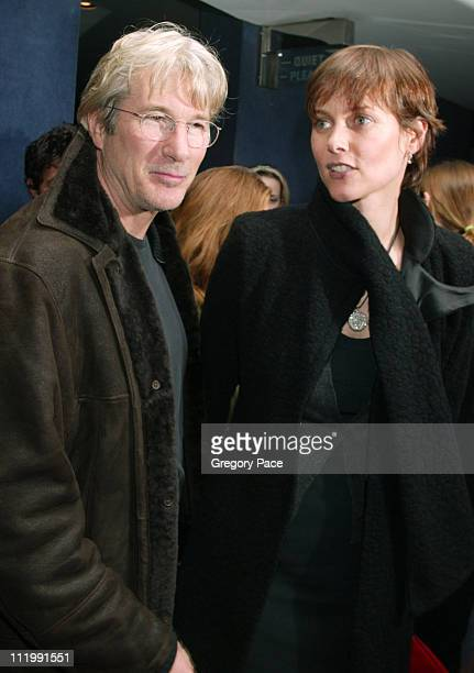 Richard Gere and wife Carey Lowell during The Company New York Premiere Inside Arrivals at Paris Theatre in New York City New York United States