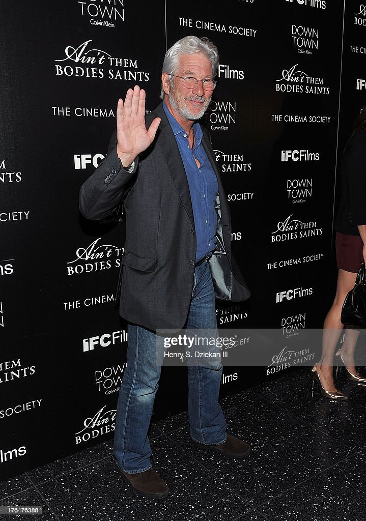 Richard Gere attends the Downtown Calvin Klein with The Cinema Society screening of IFC Films' 'Ain't Them Bodies Saints' at Museum of Modern Art on August 13, 2013 in New York City.