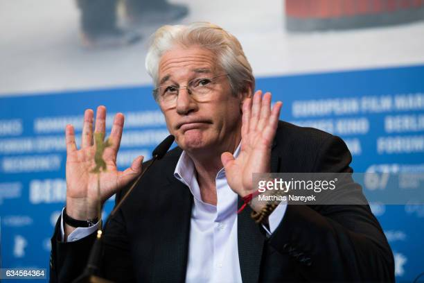 Richard Gere attends the 'The Dinner' press conference during the 67th Berlinale International Film Festival Berlin at Grand Hyatt Hotel on February...