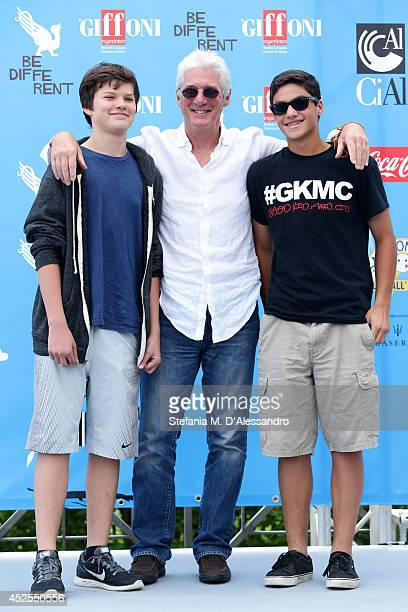 Richard Gere his son Homer James Jigme Gere and a friend attend Giffoni Film Festival photocall on July 22 2014 in Giffoni Valle Piana Italy