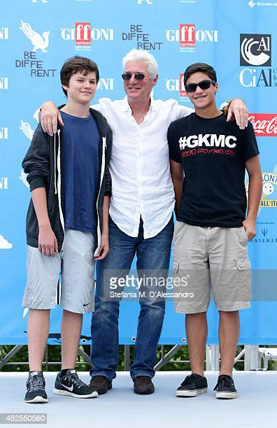 Richard Gere, his son Homer James Jigme Gere and a friend attend Giffoni Film Festival photocall on July 22, 2014 in Giffoni Valle Piana, Italy.