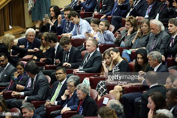 Richard Gere Homer James Jigme Gere Alejandra Silva FrancoisHenri Pinault Valentina Paloma Pinault Salma Hayek George Clooney and Amal Clooney attend...