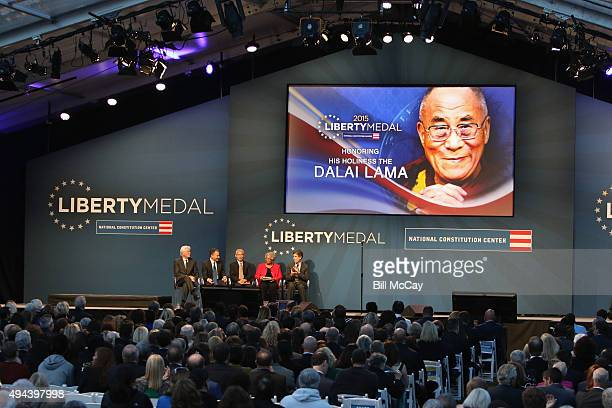 Richard Gere Jeffrey Rosen Thupten Jinpa Dr Carolyn Jacobs and Richard J Davidson attend the 2015 Liberty Medal Ceremony honoring His Holiness the...