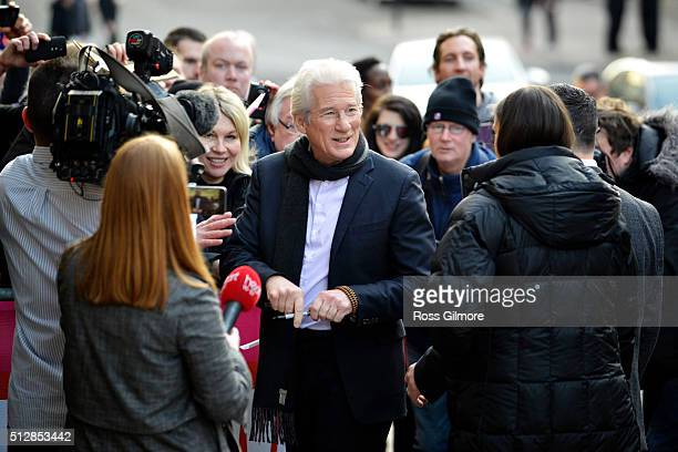Richard Gere meets fans at the UK premiere of Time Out Of Mind at The Glasgow Film Festival on February 28 2016 in Glasgow Scotland