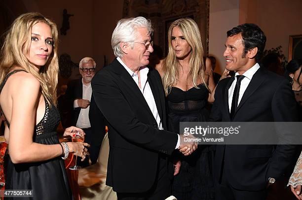 Richard Gere Tiziana Rocca and Alberto Noe attend the Shiseido And Vanity Fair Gala Dinner 61st Taormina Film Fest at Hotel San Domenico on June 17...
