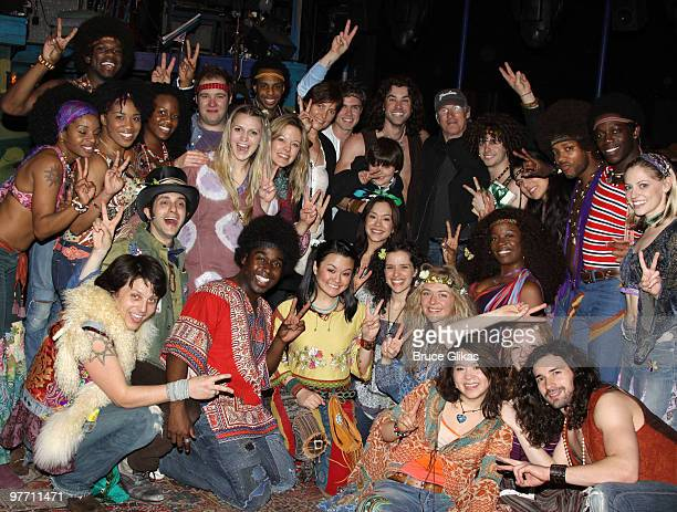 Richard Gere wife Cary Lowell and son Homer Gere pose with the cast backstage at the hit musical Hair on Broadway at The Al Hirshfeld Theater on...