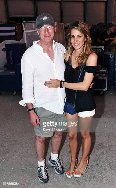Richard Gere with girlfriend Alejandra Silva backstage during The Rolling Stones concert at Ciudad Deportiva on March 25 2016 in Havana Cuba