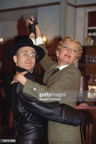 Richard Gibson as Gestapo Officer Otto Flick and Kim Hartman as Helga Geerhart in the BBC TV sitcom ''Allo 'Allo'' circa 1989