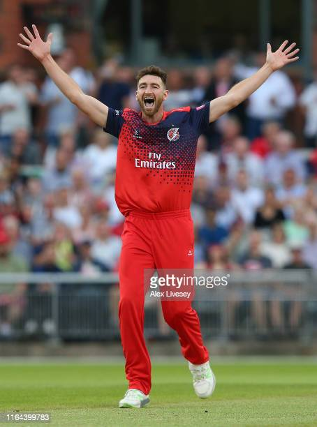 Richard Gleeson of Lancashire Lightning celebrates after taking the wicket of Callum Ferguson Worcestershire Rapids for LBW during the Vitality Blast...