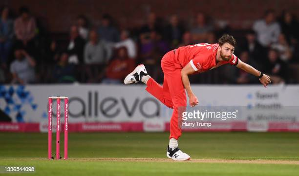 Richard Gleeson of Lancashire Lightning in bowling action during the Vitality T20 Blast Quarter Final match between Somerset CCC and Lancashire...
