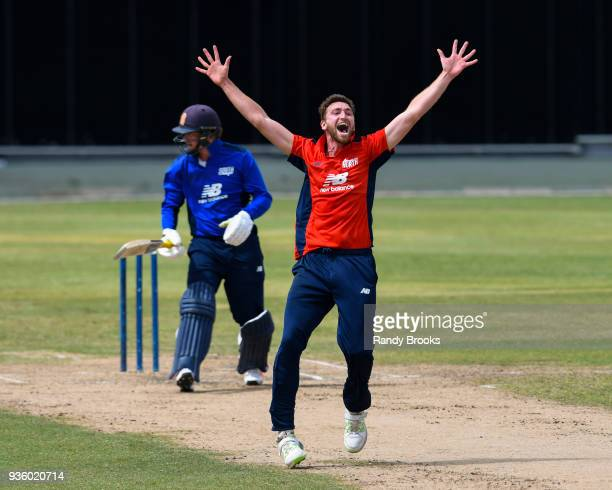 Richard Gleeson of North unsuccessful appeal for lbw against Sam Northeast of South during the ECB North v South Series match Two at Kensington Oval...