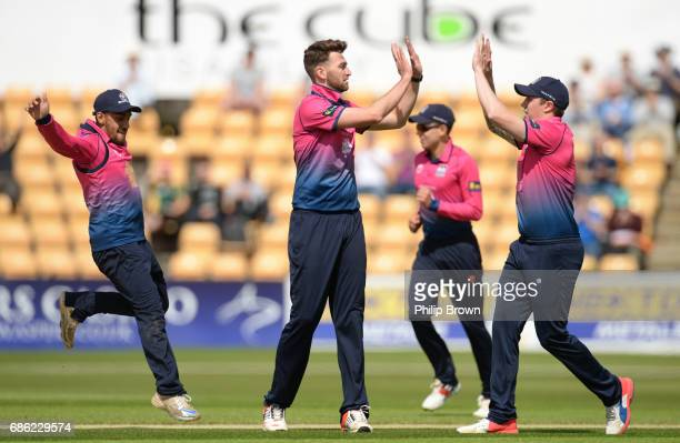 Richard Gleeson of Northamptonshire celebrates after dismissing Quinton de Kock of South Africa during the oneday match between Northamptonshire and...