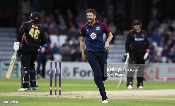 Richard Gleeson of Northamptonshire celebrates after running out Tom Wells during the NatWest T20 Blast match between the Northamptonshire Steelbacks...
