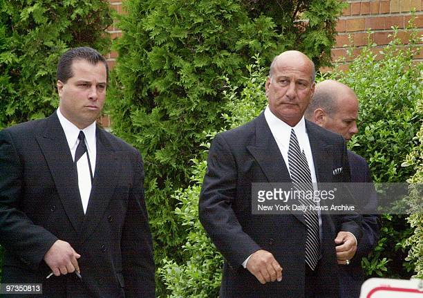 Richard Gotti arrives with his son Richard Gotti at the Papavero Funeral Home in Maspeth Queens for the wake of his brother mob boss John Gotti