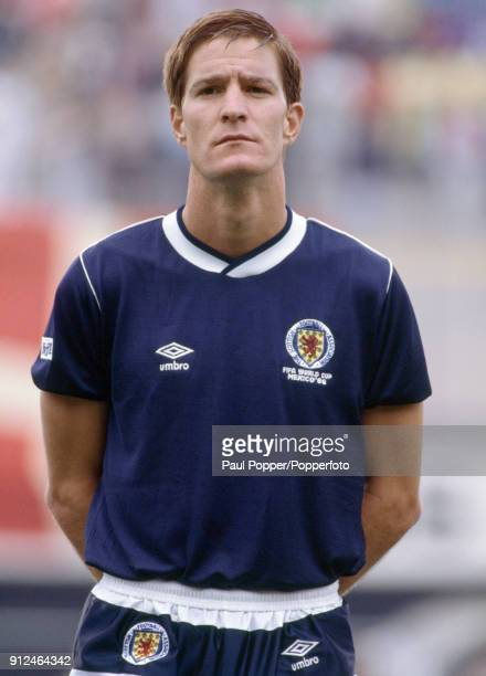 Richard Gough lines up for Scotland before the FIFA World Cup match between Scotland and Denmark at the Estadio Neza in Nezahualcoyotl 4th June 1986...