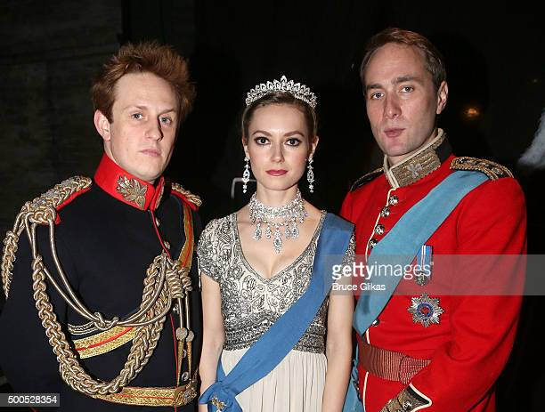 Richard Goulding as Prince Harry Lydia Wilson as Kate Middleton and Oliver Chris as Prince William pose backstage at the hit play King Charles III on...