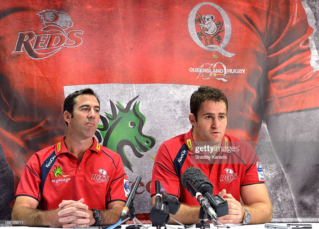 Richard Graham (L) and James Horwill speak to the media as they announce that James Horwill will be extending his contract with the club for a further two years during a Queensland Reds Super Rugby media announcement at Ballymore Stadium on May 6, 2013 in Brisbane, Australia.