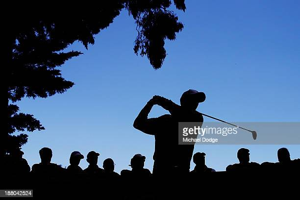 Richard Green of Australia hits a tee shot during round two of the 2013 Australian Masters at Royal Melbourne Golf Course on November 15, 2013 in...