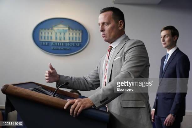 Richard Grenell adviser to US President Donald Trump on SerbiaKosovo left speaks while Jared Kushner senior White House adviser listens during a news...
