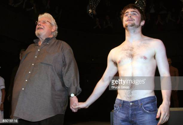 Richard Griffiths and Daniel Radcliffe takes their Opening Night bows in Equus on Broadway at the Broadhurst Theatre on September 25 2008 in New York...