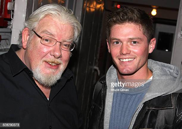 Richard Griffiths and Spencer Liff pose during an unveiling of an original prop from the original Equus from 1974 at The Broadhurst Theatre on...