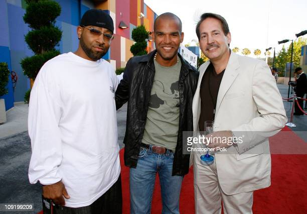 Richard Guiton , actor Amaury Nolasco and Gary Lafever arrive at the Hollywood launch of PlatinumLounge.com at The Globe Theatre on July 7, 2007 in...