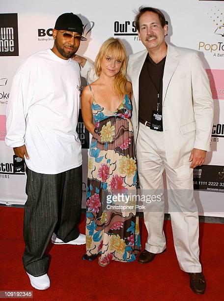 Richard Guiton , Actress Taryn Manning and Gary Lafever arrive at the Hollywood launch of PlatinumLounge.com at The Globe Theatre on July 7, 2007 in...